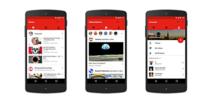 تحديث تطبيق اليوتيوب مع ثلاث تبويبات جديدة